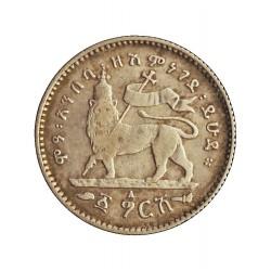 Ethiopia 1 Gersh. 1889. A-(Paris). AG. 1,404gr. Ley:0,835. (Menelik II). Ø16mm. MBC/MBC+. KM. 13