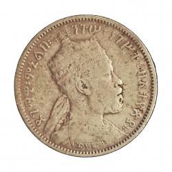 Ethiopia ¼ Birr. 1887. 1889. A-(Paris). AG. 7,109gr. Ley:0,835. (Menelik II). Ø25mm. BC/BC+. KM. 3