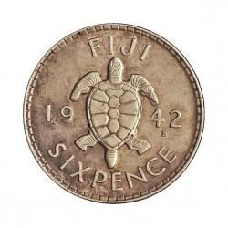 Fiji.-Islas 6 Pence. 1942. S-(St.Francisco). AG. 2,828gr. Ley:0,900. (Tortuga). Ø19mm. SC-/SC. KM. 11a