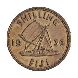 Fiji.-Islas 1 Shilling. 1936. AG. 5,66gr. Ley:0,500. Ø23mm. MBC. KM. 4