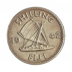 Fiji.-Islas 1 Shilling. 1942. S-(St.Francisco). AG. 5,655gr. Ley:0,900. Ø23mm. EBC+/SC-. KM. 12 a