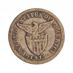 Filipinas 10 Ctvo. 1918. S-(St.Francisco). AG. 2gr. Ley:0,750. Ø16mm. BC+/MBC-. KM. 169