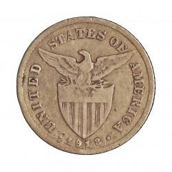 Filipinas 20 Ctvo. 1918. S-(St.Francisco). AG. 4gr. Ley:0,750. Ø20,5mm. BC+/MBC-. KM. 170
