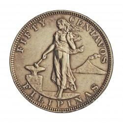 Filipinas 50 Ctvo. 1903. AG. 13,478gr. Ley:0,900. Ø30mm. EBC/EBC+. KM. 167
