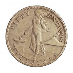 Filipinas 50 Ctvo. 1944. S-(St.Francisco). AG. 10gr. Ley:0,750. Ø27mm. MBC/MBC-. (Finas rayitas). KM. 183