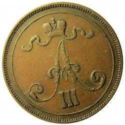 Finlandia 10 Pennia. 1891. CU. 12,8gr. Ø29mm. MBC. (Marquitas). KM. 12