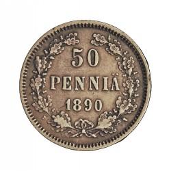 Finlandia 50 Pennia. 1890. L. AG. 2,55gr. Ley:0,750. Ø18,5mm. MBC+/EBC-. KM. 2.2