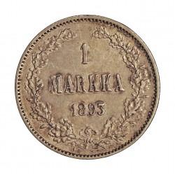 Finlandia 1 Markka. 1893. L. AG. 5,183gr. Ley:0,868. Ø24mm. EBC. KM. 3.2