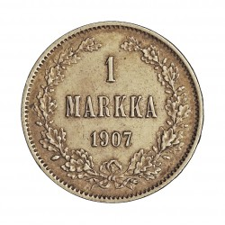 Finlandia 1 Markka. 1907. L. AG. 5,183gr. Ley:0,868. Ø24mm. EBC. KM. 3.2