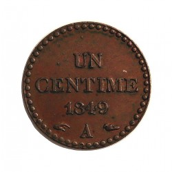 Francia 1  Cts.  1849. A-(Paris). AE. 2gr. Ley:0,000. Ø18mm. SC-/SC. (Bonito tono). RARO/A. en esta conservacion. KM. 754 - GAD.