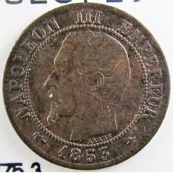 Francia 1  Cts.  1853. BB-(Strasbourg). AE. 1gr. Ø15mm. EBC-. KM. 775.3
