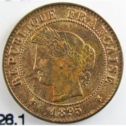 Francia 1  Cts.  1895. A-(Paris). AE. 1gr. Ø15mm. SC-/SC. (Gran parte ded su tono original.Lev.manchita anv.). KM. 826.1 - GAD.