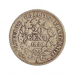 Francia 20  Cts.  1850. A-(Paris). AG. 1gr. Ley:0,900. (Tipo Ceres). Ø15mm. MBC-/MBC. KM. 758.1