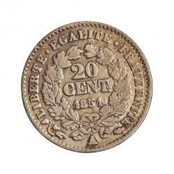 Francia 20  Cts.  1851. A-(Paris). AG. 1gr. Ley:0,900. Ø15mm. MBC-/MBC. KM. 758.1 - GADO. 303