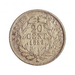 Francia 20  Cts.  1859. A-(Paris). AG. 1gr. Ley:0,900. Ø15mm. MBC+. KM. 778.1