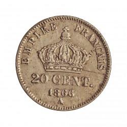 Francia 20  Cts.  1866. A-(Paris). AG. 1gr. Ley:0,900. Ø16mm. MBC-. GADO. 308