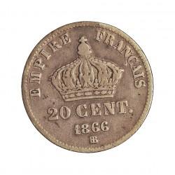 Francia 20  Cts.  1866. BB-(Strasbourg). AG. 1gr. Ley:0,900. Ø15mm. BC+. KM. 805.2