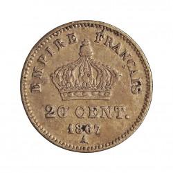 Francia 20  Cts.  1867. A-(Paris). AG. 1gr. Ley:0,900. (Imagen tipo). Ø16mm. MBC-/MBC. KM. 808.1 - GAD. 309