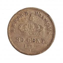 Francia 20  Cts.  1867. A-(Paris). AG. 1gr. Ley:0,900. (Imagen tipo). Ø16mm. BC+/MBC-. KM. 808.1 - GAD. 309