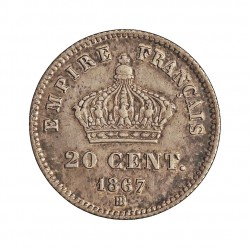 Francia 20  Cts.  1867. BB-(Strasbourg). AG. 1gr. Ley:0,900. Ø16mm. MBC+. KM. 808.2