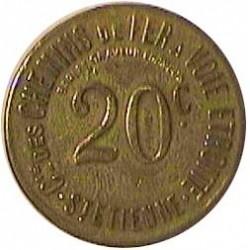 Francia 20  Cts.  1923. ?. (Parque St.Etienne). LA. 2,64gr. Ley:0,000. Anv: Su valor, 20 C..Alrededor Ley.:Cie.des Chemins de Fe