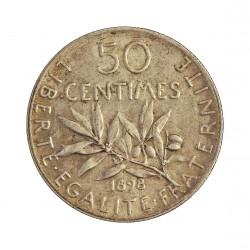 Francia 50  Cts.  1898. AG. 5gr. Ley:0,835. (Tipo Sembradora). Ø18mm. EBC. KM. 854