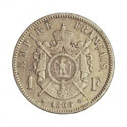 Francia 1  Francos. 1866. BB-(Strasbourg). AG. 5gr. Ley:0,835. Ø23mm. MBC/MBC-. KM. 806.2