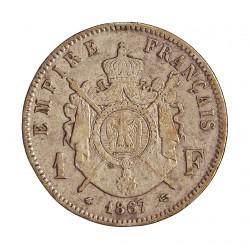 Francia 1  Francos. 1867. A-(Paris). AG. 5gr. Ley:0,835. Ø23mm. MBC-. KM. 806.1