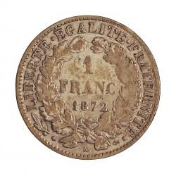 Francia 1  Francos. 1872. K-(Bordeaux). AG. 5gr. Ley:0,835. (Tipo Ceres). Ø23mm. BC+/MBC-. KM. 822.2