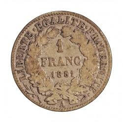 Francia 1  Francos. 1881. A-(Paris). AG. 5gr. Ley:0,835. (Tipo Ceres). Ø23mm. BC+/MBC-. KM. 822.1