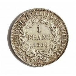 Francia 1  Francos. 1888. A-(Paris). AG. 5gr. Ley:0,835. (Tipo Ceres). Ø23mm. EBC+/SC-. KM. 822.1 - GAD. 465.a
