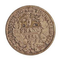 Francia 1  Francos. 1888. A-(Paris). AG. 5gr. Ley:0,835. (Tipo Ceres). Ø23mm. BC+/MBC-. KM. 822.1