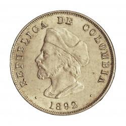 Colombia 50  Ctvo.  1892. AG. 12,5gr. Ley:0,835. Ø30mm. SC-/SC. (Tono original). RARO/A. en esta calidad.  KM. 187.1