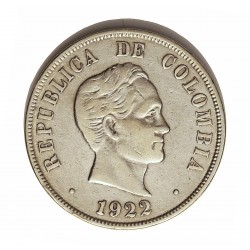 Colombia 50  Ctvo.  1922. AG. 12,5gr. Ley:0,900. Ø30mm. MBC/MBC+. KM. 193.1