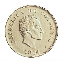 Colombia 50  Ctvo.  1932. Bogota. AG. 12,5gr. Ley:0,900. Ø30mm. SC-/SC. (Tono original). KM. 193.1