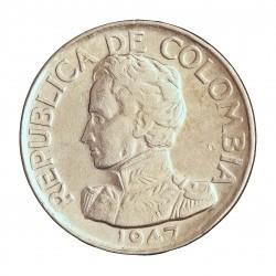 Colombia 50  Ctvo.  1947. Bogota. AG. 12,5gr. Ley:0,500. Ø30mm. MBC/MBC+. KM. 209