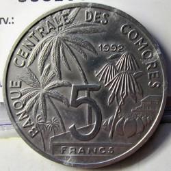 Comoros.-Islas 5 Francos. 1992. AL. 3,7gr. Ø31mm. SC-/SC. (Tono original). KM. 15