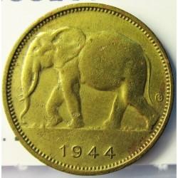 Congo Belga-(1909/1960) 1 Francos. 1944. BRASS. 2,48gr. Ø19,2mm. MBC/MBC+. KM. 26