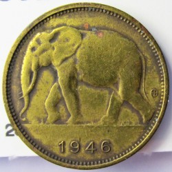 Congo Belga-(1909/1960) 1 Francos. 1946. BRASS. 2,48gr. Ø19,2mm. MBC/MBC+. KM. 26
