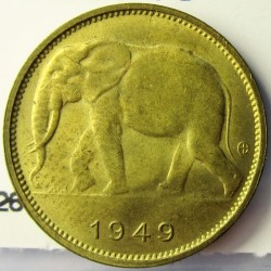 Congo Belga-(1909/1960) 1 Francos. 1949. BRASS. 2,48gr. Ø19,2mm. SC-/SC. Inicio de patina). KM. 26