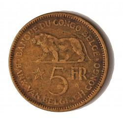 Congo Belga-(1909/1960) 5 Francos. 1936. AE. 13gr. Ø33mm. MBC/MBC+. KM. 24