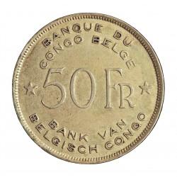 Congo Belga-(1909/1960) 50 Francos. 1944. AG. 17,5gr. Ley:0,500. (Elefante africano). Ø35mm. MBC+/EBC+. (Acuñacion algo floja,