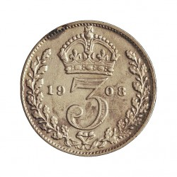Gran Bretaña 3 Pence. 1908. AG. 1,414gr. Ley:0,500. Ø16mm. MBC-/MBC. KM. 813