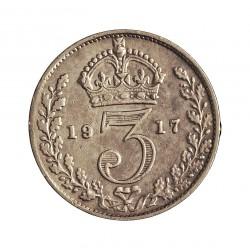 Gran Bretaña 3 Pence. 1917. AG. 1,414gr. Ley:0,500. Ø16mm. MBC-/MBC. KM. 813
