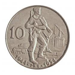 Checoslovaquia 10 Korun. 1954. AG. 12gr. Ley:0,500. (10 º Anv.S.Uprising). Ø30mm. EBC+/SC-. KM. 40