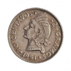 Dominicana.-Rep. 10 Ctvo. 1951. AG. 2,5gr. Ley:0,900. (Indio nativo). Ø18mm. EBC+. KM. 19