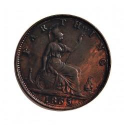 Gran Bretaña Farthing. 1865. /2 (5 sobre 2). AE. 2,9gr. Ø20mm. SC-. (Patina). KM. 747.2