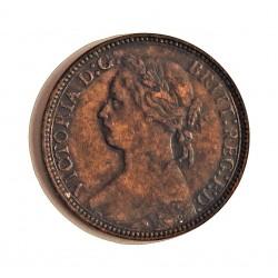 Gran Bretaña Farthing. 1875. H-(Heaton). AE. 2,9gr. (4 bayas). Ø20mm. MBC+/EBC-. KM. 753