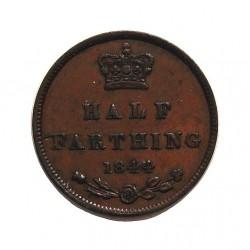 Gran Bretaña ½ Farthing. 1844. CU. 2,4gr. Ø17,5mm. EBC/EBC+. (Patina). KM. 738