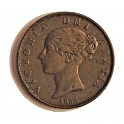 Gran Bretaña ½ Penny. 1858. /6 (8 sobre 6). CU. 9,6gr. Ø28mm. MBC-/MBC. KM. 726
